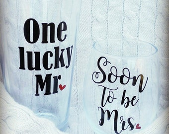 Future Mrs, One lucky Mr, Bride to be, engagement gift, bride and groom glasses, gift for couple, engagement gift for couple