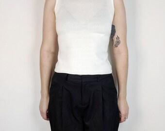 SALE: 90s White Sleeveless Mockneck / Size Small