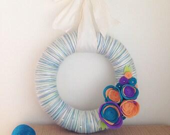 Beach blues yarn wreath