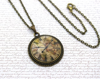 Vintage Clock Face Upon A Map, Cartography, Travel Necklace or Keychain, Keyring