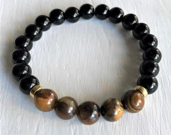 tiger eye and black jasper stretchy bracelet with 24K gold-plated bead spacers
