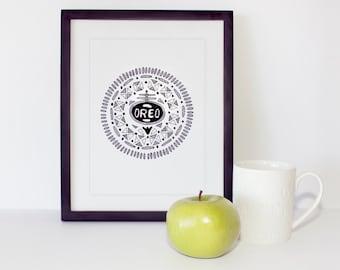 Oreo Print - Oreo Illustration - Biscuit Gift - Biscuit Art - Food Wall Art - Food Art - Black and White Art Print - Kitchen Art - Oreo Gift