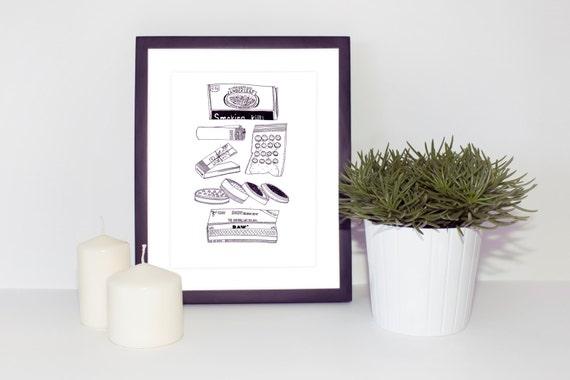 Smokers Print - Smoking Illustration - Stoners Gift - Stoner Art - high Wall Art - High Art - Black and White Art Print - Weed Illustration
