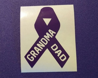 Alzheimer's Awareness Customized Purple Ribbon Decal #84