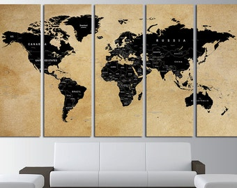 Custom Quote Push Pin World Map Canvas Set Custom Quote World Map Wall Art Set World Map Print World Map Poster Large World Map Wall Decor