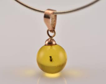 Amber Gold Pendant, Round Gold Pendant, Gemstone Gold Pendant, Baltic Amber Insects, Amber Ball Pendant, Amber Gold Jewelry, Pendant