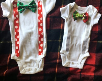 Christmas snap on bow tie onesies or toddler shirt