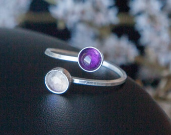 Amethyst and Rainbow Moonstone Ring, Sterling Silver Ring, Womens Adjustable Ring, February Birthstone Ring, Amethyst Ring, Moonstone Ring