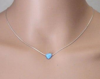 Opal heart necklace, Blue opal necklace, Opal necklace, Heart necklace, Sterling Silver necklace, Blue heart Opal necklace,Blue opal jewelry