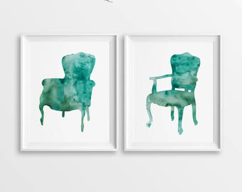 Set of 2 Armchairs, Chair Printable, Chair Prints, DIGITAL Chair, DIY Wall Art, Large Printable, Turquoise Chair, Watercolor Chair, Armchair