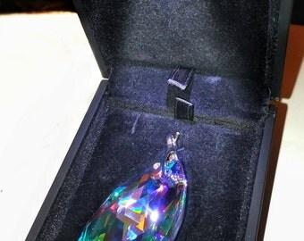 Presented In LED Jewellery Box - 50mm SWAROVSKI CRYSTAL Vitrail Light Peardrop Pendant