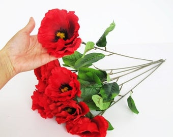 SALE 7 Silk Poppies Artificial Flowers Big Red With Black Yellow Center Poppy Flower Floral Hair Accessories Poppy with Leaves Supplies Faux