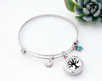 Essential Oil Diffuser Bracelet - Aromatherapy Pendant - Essential Oil Bracelet - Stainless Steel Aromatherapy Tree of Life Bracelet