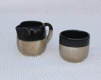 Small Pottery Pitcher and Bowl - Imprinted Hallmark - Glazed interior