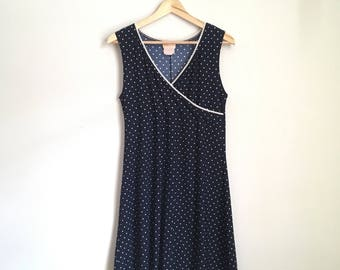 Faux wrap sun dress, 90s, a-line dress, polkadots, M-L, *vintage*