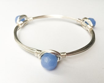 3 Blue Bead Bangle