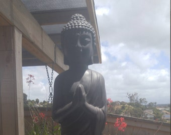 21 inch tall Black Resin Praying Buddha
