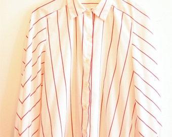 Vintage pyjama shirt red white stripe handmade size medium 10-12
