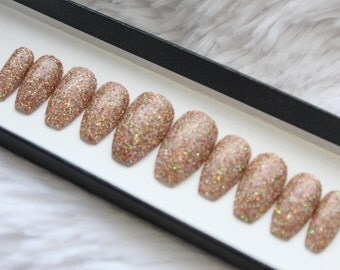 Rose Gold Glitter Press on Nails | False Nails | Fake Nails | Glue On Nails | Custom Shapes and Sizes