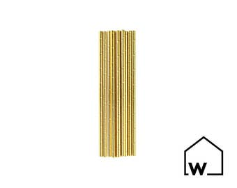 Gold Metallic Paper Straws (Pack of 25) | Wedding, Bridal Shower, Engagement, Bachelorette Party, Baby Shower, Birthday