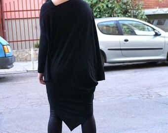 Maxi Caftan Dress / Black Kaftan / Party Dress / Asymmetric Black Dress / Combo Black Dress