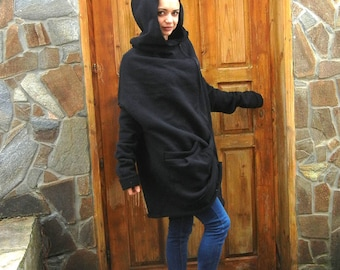 Cashmere Cozy Warm Black Coat, Oversized Asymmetric Jacket, Loose Hooded Coat, Extra Long Sleeves Winter Sweatshirt, Plus Size Fashion