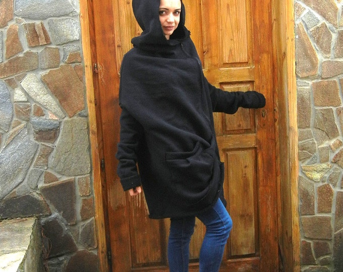 Featured listing image: Cashmere Cozy Warm Black Coat, Oversized Asymmetric Jacket, Loose Hooded Coat, Extra Long Sleeves Winter Sweatshirt, Plus Size Fashion