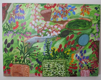 Primative Garden Painting on Pine by NC Folk Artist / Outsider Artist Annie Signed and Dated #1