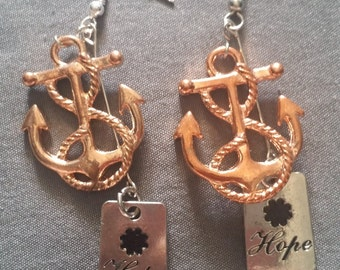 Brass Anchor with Hope Bead