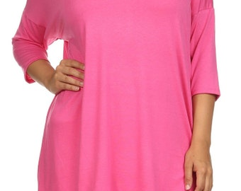 Solid Relaxed Tunic Plus Fuchsia