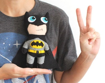 Batman Little Felt Toy  Soft Plushies  Black Hero Superhero Comics Decor Gift Toy