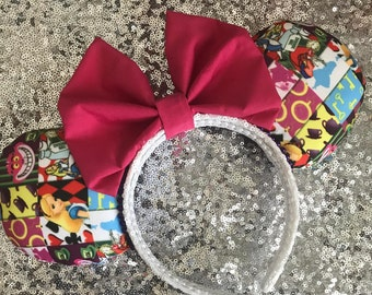 Disney Inspired Alice In Wonderland Mickey / Minnie Mouse Ears