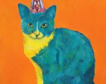 FIERCE LOVE ~ KONA. print giclee cat kitten art playful contemporary art fun colorful baby kids nursery girlpower tween teen affordable art