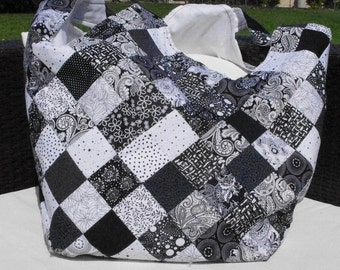 Large Patchwork Black and White Shoulder Bag