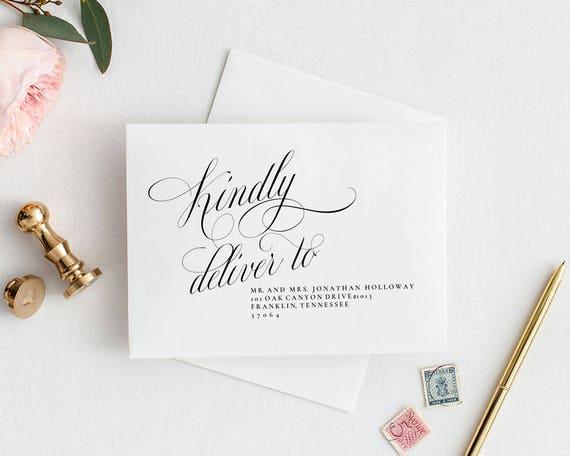 kindly deliver to wedding envelope addressing template