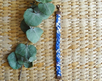 Bracelet braided 3 branches, Liberty London Betsy Ann T cuff, blue, purple