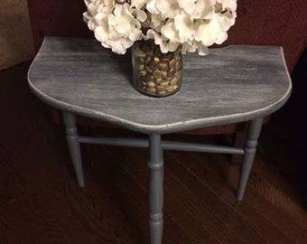 Delightful Half Moon Table with Shabby Chic Flair