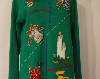 Ugly Christmas sweater, Vintage 1980s, christmas, holiday sweater, knit, beaded, christmas tree, candles, holiday, L, green, large