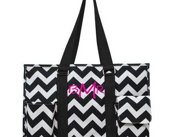 Monogrammed Beach Bag, Large tote bag,  Diaper bag, Personalized tote bag, Embroidered organizer bag, black chevron tote bag, organizing bag