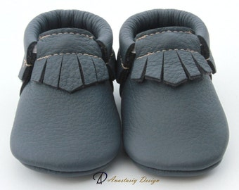 Baby Moccasins, Genuine Leather Baby Moccs, Dark Grey Fringe Leather Baby Moccasins, Baby Boy Moccasins, Toddler Moccasins, Baby boy shoes
