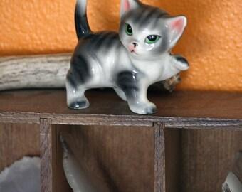 Green Eyed Ceramic Cat