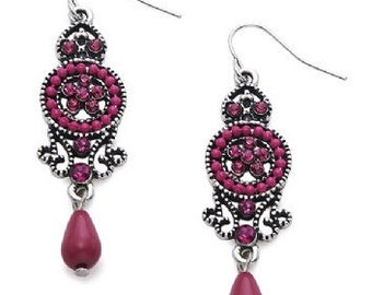 Vintage Style Beaded Dangle Earrings Pink EA6048j