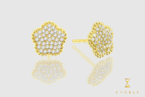 14k Solid Gold Womens Flower Diamond Sparkling Uverly Earrings