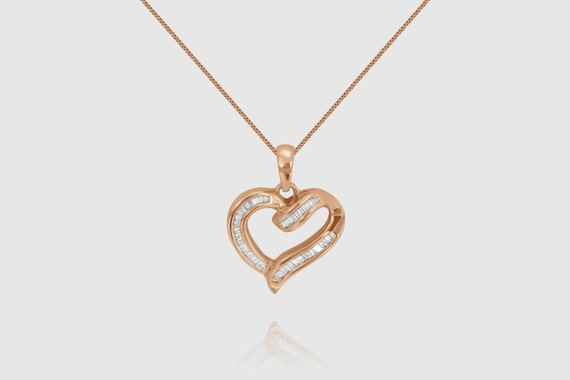 """14k Solid Yellow White Rose Gold Heart 0.70ct Women's Chain Necklace 16"""""""