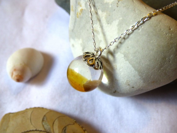 Amber Sea Glass encased in Crystal Resin Orb Pendant Necklace - sphere ball globe charm drop droplet brown yellow orange - PC16025