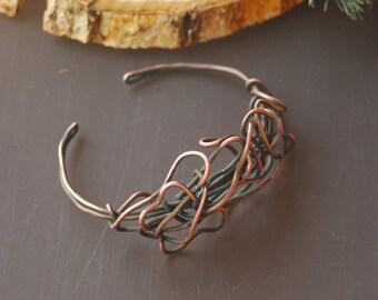 Bracelet Wire Wrapped Handmade Copper Bracelet Hammered Copper Antiqued Copper Bracelet Rustic Copper Bracelet Bangle bracelet Wire wrapped