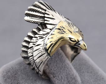 Golden Eagle 3D Handmade Jewelry Men's Ring 925 Sterling Silver Open End Size Adjustable