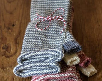100% Pure Wool Hand Knitted Fingerless Gloves, Helix Stripes Mittens, Knitted Wrist Warmers, Arm Warmers, Gift Idea