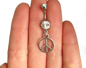 Festival piercing peace sign, positive belly button ring