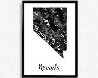 Map of Nevada, United States of America, Black and White Map, Travel, Watercolor, Room Decor, Poster, gift, Print, Wall Art (761)
